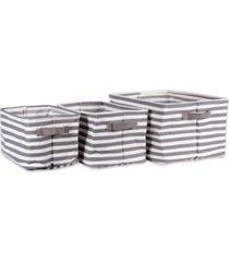 design imports polyethylene coated herringbone woven cotton laundry bin stripe rectangle set of 3
