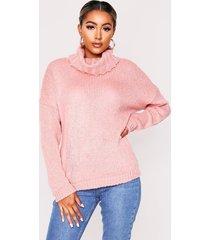 oversized turtle neck sweater, blush