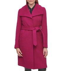 karl lagerfeld paris women's single-breasted belted coat