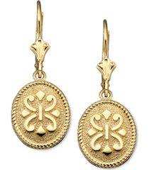 14k gold earrings, oval etruscan