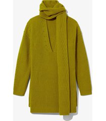 proenza schouler white label convertible scarf v-neck sweater 00503 acid green xxs