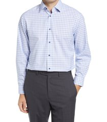 men's big & tall nordstrom traditional fit plaid stretch non-iron dress shirt, size 18.5 - 34/35 - blue