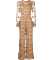 valentino pre-owned 2012 beaded jumpsuit - neutrals