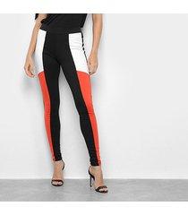 calça legging mercatto recorte bicolor feminina