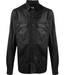 rick owens oversized leather shirt jacket - black