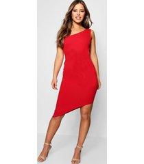 petite asymmetrische bodycon jurk met eén schouder, rood