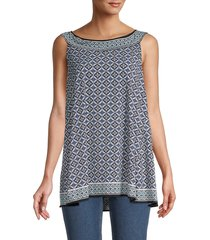 max studio women's printed sleeveless trapeze top - size s
