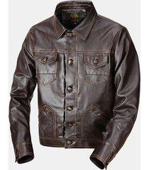 giacca da motocicletta da uomo in pelle casual con tasche multiple