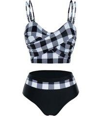 checked crisscross high waisted tankini swimwear