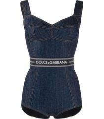 dolce & gabbana logo denim bodysuit - blue