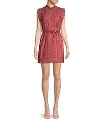 laser-cut cotton mini dress