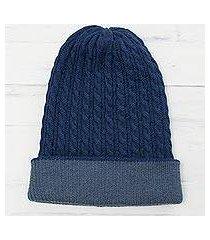 men's reversible alpaca blend hat, 'the bells of huancayo in azure' (peru)