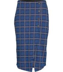 u8039, jersey skirt below knee knälång kjol blå saint tropez