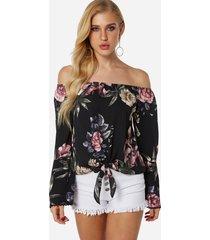 diseño con cordones negro estampado floral fuera del hombro blusa con mangas acampanadas