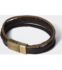 river island mens brown leather layered bracelet