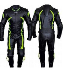 mens green black motorcycle leather suit jacket pant safety pads