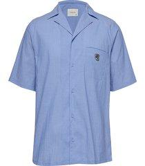 bowling short sleeve shirt overhemd met korte mouwen blauw tonsure