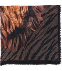 franco ferrari tiger print wool scarf multicolor/animal print sz: