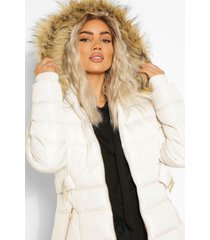 faux fur trim hooded belted puffer coat, stone