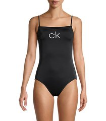 straight neck one-piece swimsuit