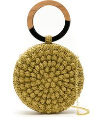 serpui circle popcorn crochet straw clutch - neutrals