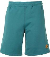 kenzo fleece tiger patch shorts - green
