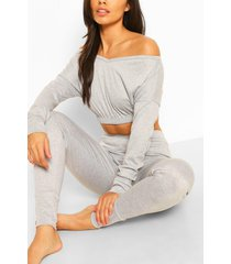 bardot sweat crop top & jogger set, grey marl