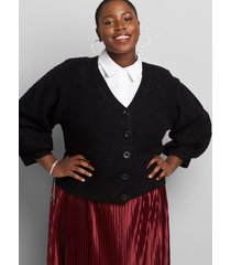 lane bryant women's blouson-sleeve button-front cardigan 14/16 black