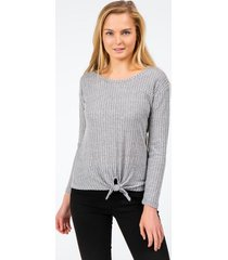 darice ribbed front tie top - gray