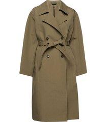 suela trench coat trenchcoat lange jas groen andiata