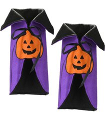 national tree company wine bottle halloween pumpkin cape cover - set of 2