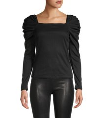 love ady women's squareneck chiffon-sleeve top - black - size xs