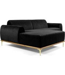 sofã¡ 3 lugares com chaise base de madeira euro 245 cm veludo preto  gran belo - preto - dafiti