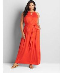 lane bryant women's twist-neck maxi dress 34/36 flame scarlet