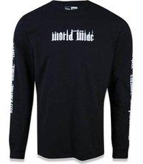 camisa new era manga longa worldwide masculina