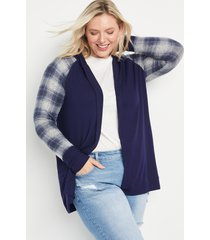 maurices plus size womens navy plaid hooded cardigan blue