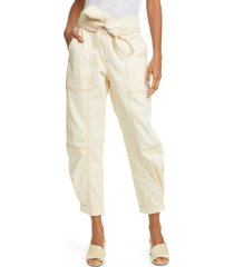 women's ulla johnson storm tie waist tapered jeans, size 8 - ivory