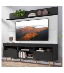 """rack com painel tv 65"""" madri multimóveis preto/branco com prateleira e pés retrô natural"""