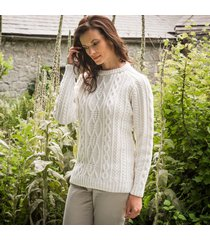 ladies' munster aran sweater cream xl