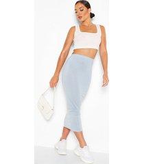 basic midaxi rok met hoge taille, grijs