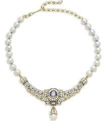 heidi daus women's goldtone & crystal, multicolor rhinestones & glass beads necklace