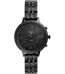 fossil women's tech jacqueline black stainless steel hybrid smart watch 36mm