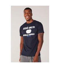 camiseta ecko estampada azul marinho