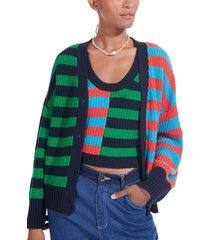 staud essex mixed stripe cotton blend cardigan, size medium in cabana stripe dark at nordstrom