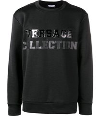versace collection textured logo sweatshirt - black