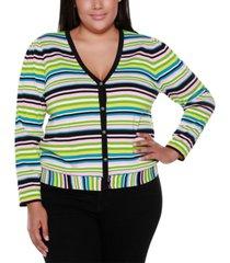 belldini black label plus size striped long sleeve v-neck button up cardigan