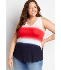 maurices plus size womens 24/7 multi color striped v neck tank top
