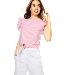 blusa rosa rayas bolero