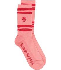 alexander mcqueen skull motif sport socks - pink