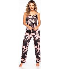 pijama mujer conjunto pant satín rosado 11403